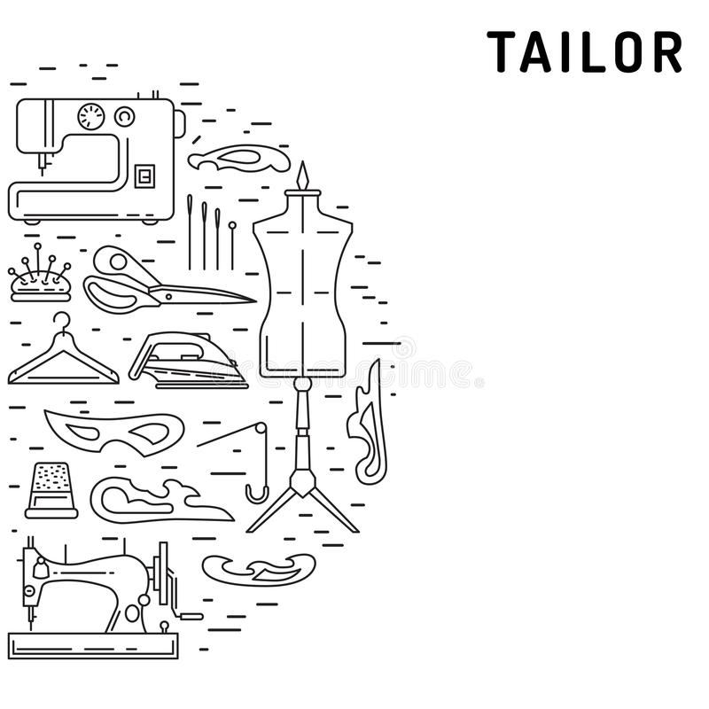 Sewing icons outline vecto stock illustration