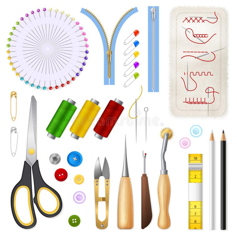 Sewing Isolated Icons Set vector illustration