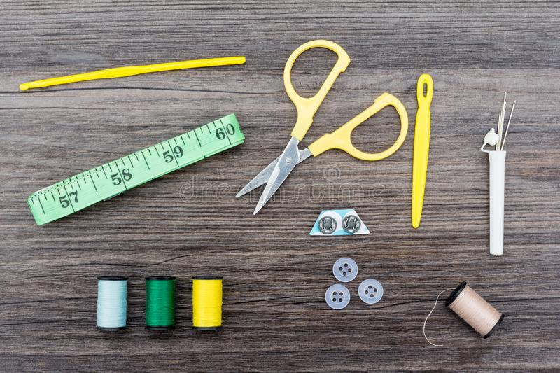 Sewing items and accessories stock photo