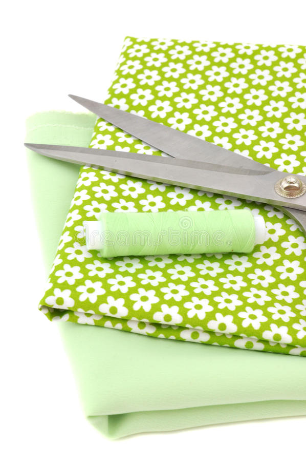 Download Sewing Items On Floral Cloth Stock Photo - Image: 17733668