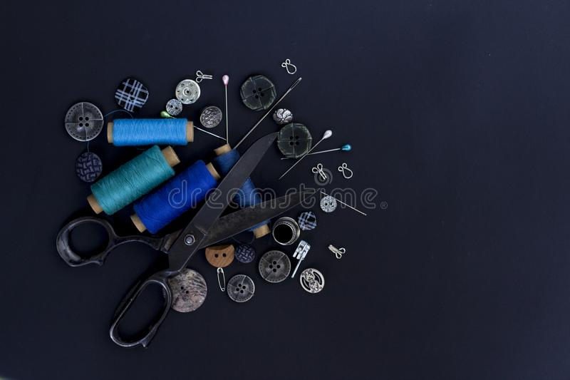 Sewing items. Top view. Flat lay. stock photo
