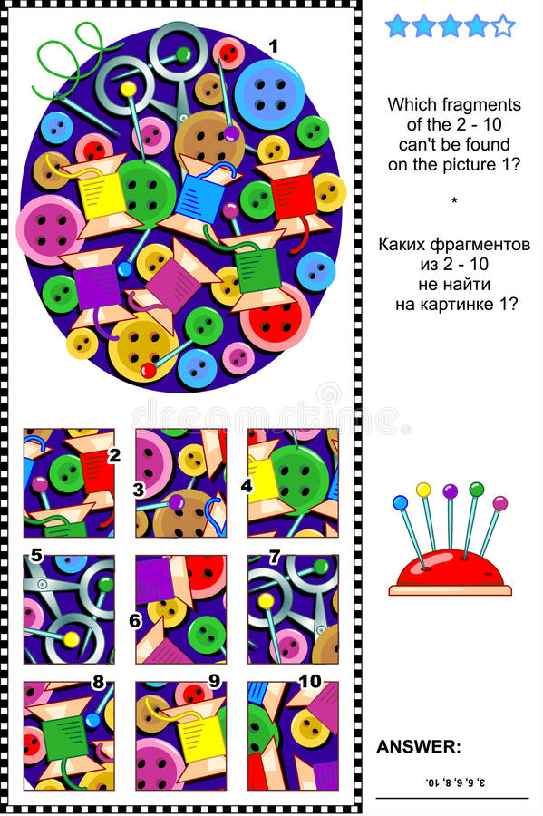 Sewing items visual riddle - what does not belong?. Needlecraft items visual logic puzzle: What of the 2 - 10 are not the fragments of the picture 1? Answer stock illustration