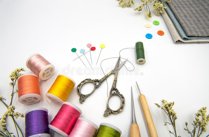 Sewing items on white background royalty free stock photos