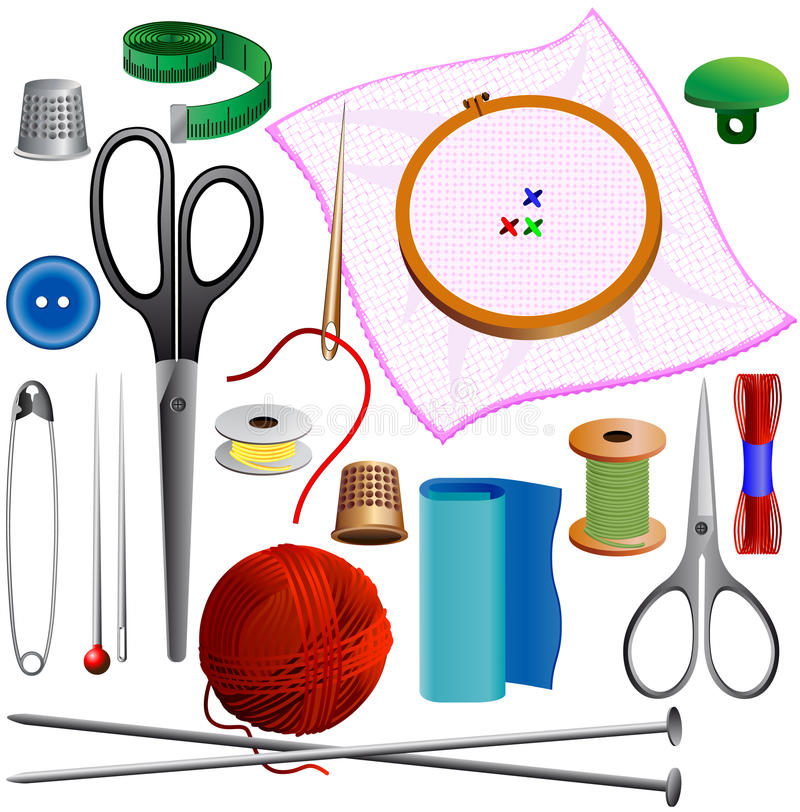 Sewing kit. Knitting, sewing, embroidery for a hobby vector illustration