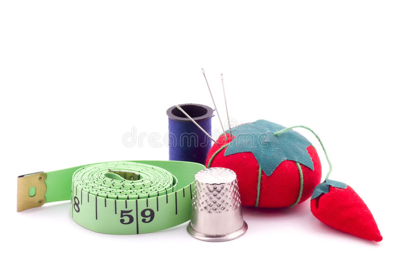 Sewing Kit. Sewing tools on a white background stock photo