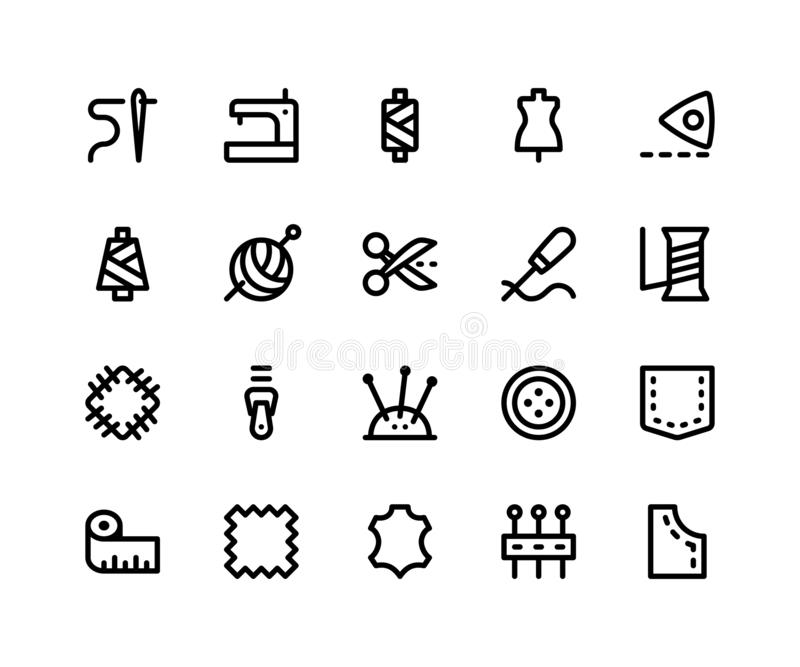 Sewing Line Icons. Simple Set of Sewing Related Vector Line Icons. Contains such Icons as needle, clothing, mannequin, yarn and More. pixel perfect vector icons royalty free illustration
