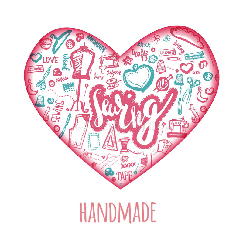 Sewing love doodle illustration in shape of heart. Handicrafted logo with needle, sewing machine, sewing pin, yarn. royalty free illustration