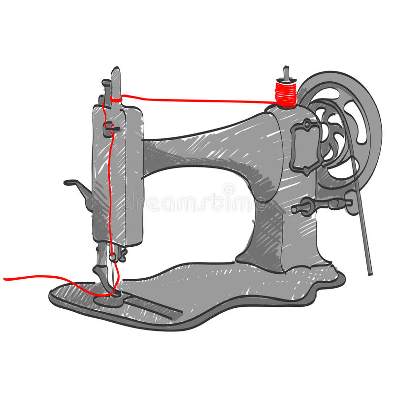 Download Sewing machine stock illustration. Illustration of repairing - 15940992