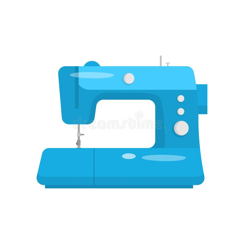 Professional sewing machine in blue case for home and industrial use isolated flat royalty free illustration
