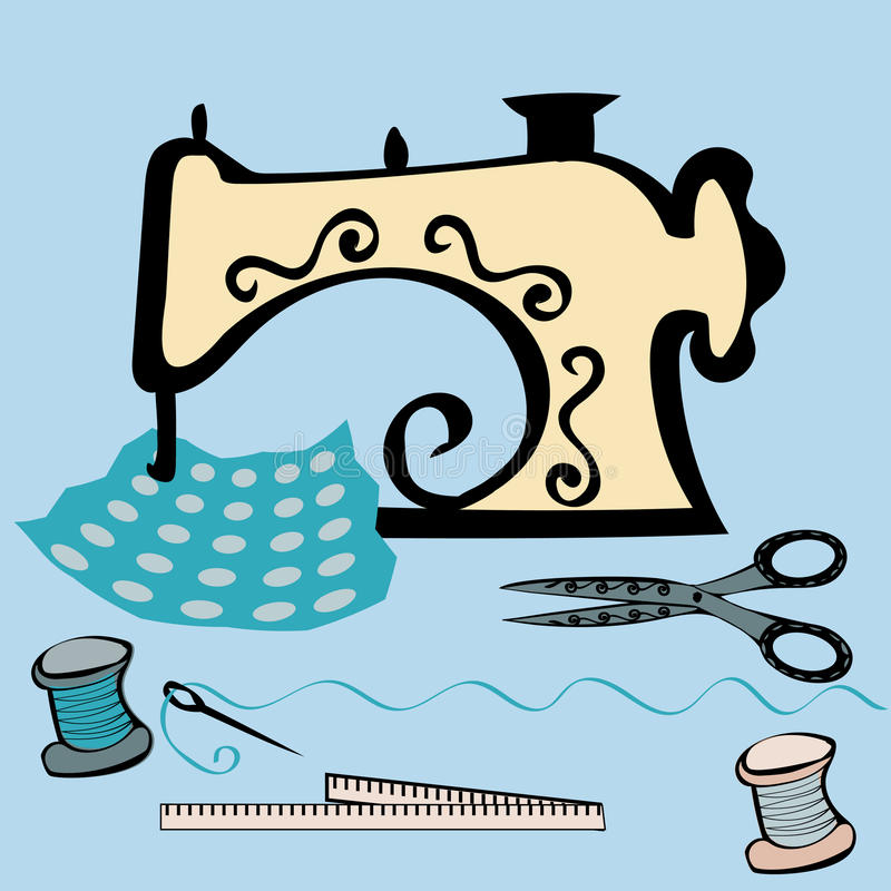 Sewing machine craft working table. Working with fabric. Seamstress at work. Tools needlework vector illustration