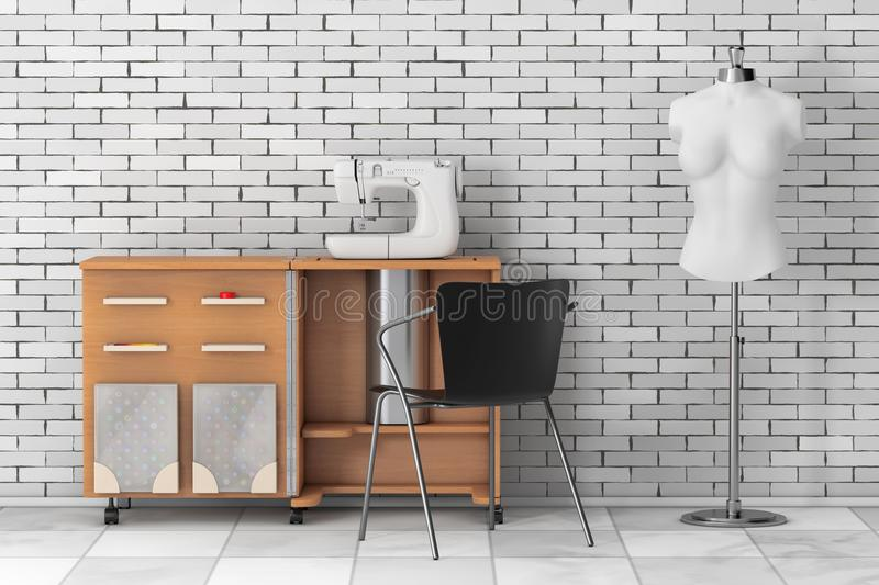 Sewing Machine on Tailor Workshop Wooden Table near White Vintage Tailor Women Mannequin. 3d Rendering stock illustration