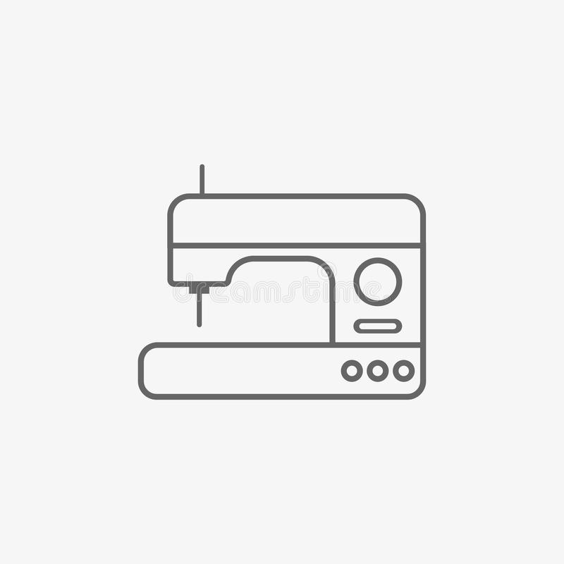 Sewing machine vector icon. On grey background vector illustration