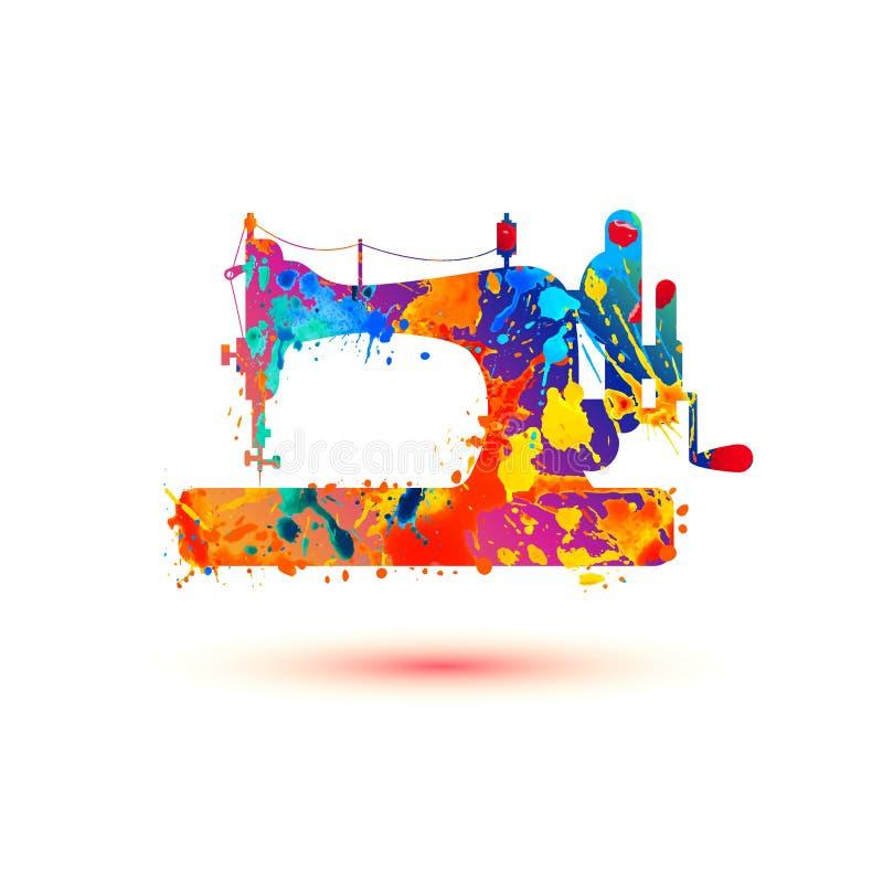Sewing machine vector icon. Wateercolor splash paint stock illustration