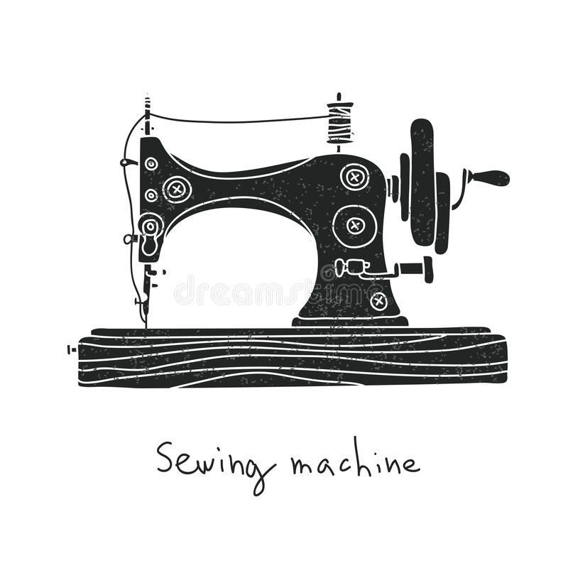 Sewing machine. Vector. Illustration on a white background, painted by hand vector illustration