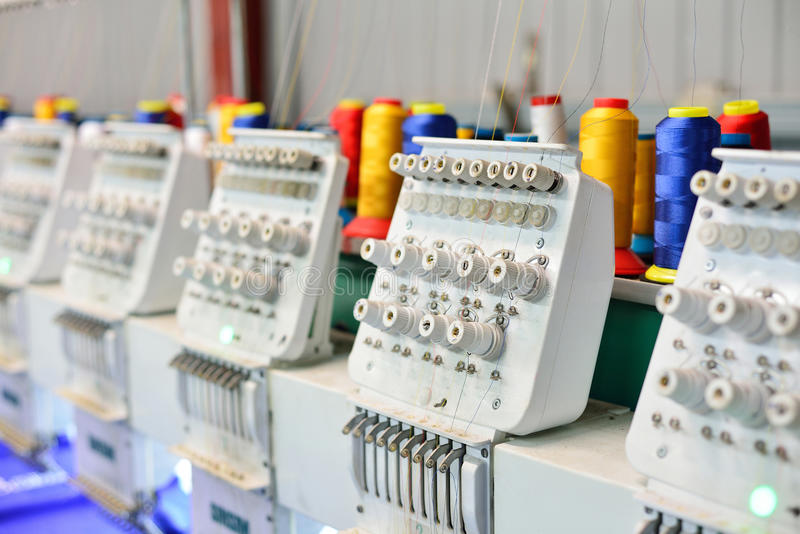 Sewing machines for embroidery. stock photos