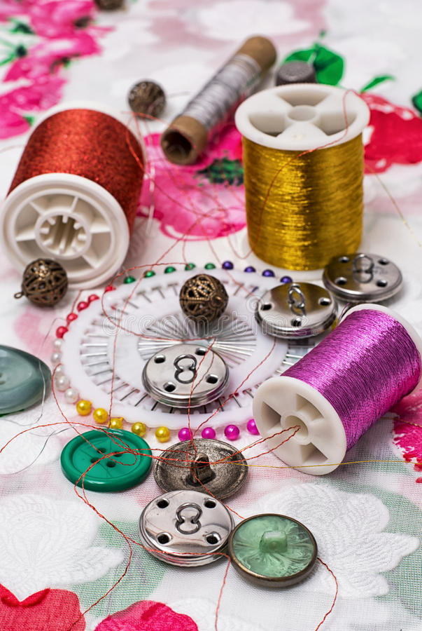 Sewing. Manufacturing of scenery and decorations and sewing accessories stock photography