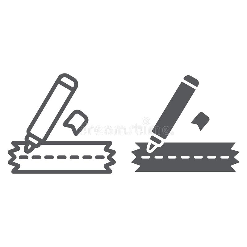 Sewing marker line and glyph icon, craft and sew, clothes marker sign, vector graphics, a linear pattern on a white. Background, eps 10 vector illustration
