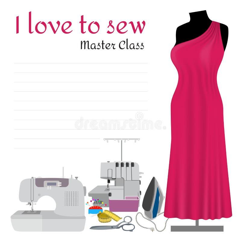 Sewing Master Class Invitation stock illustration