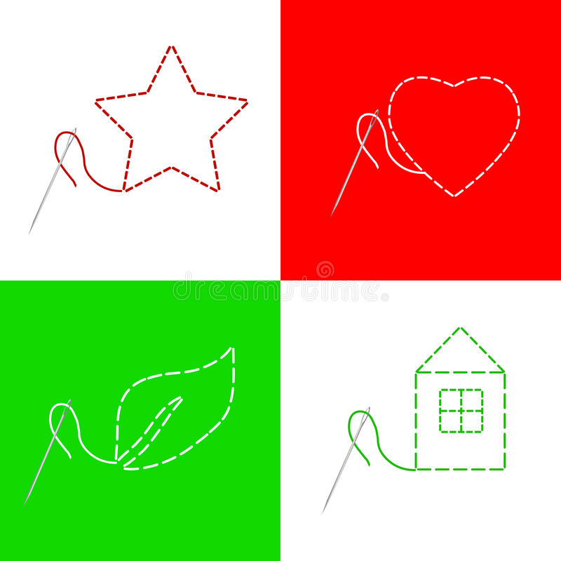 Sewing needle thread house red heart star green leaf frame illustration vector illustration