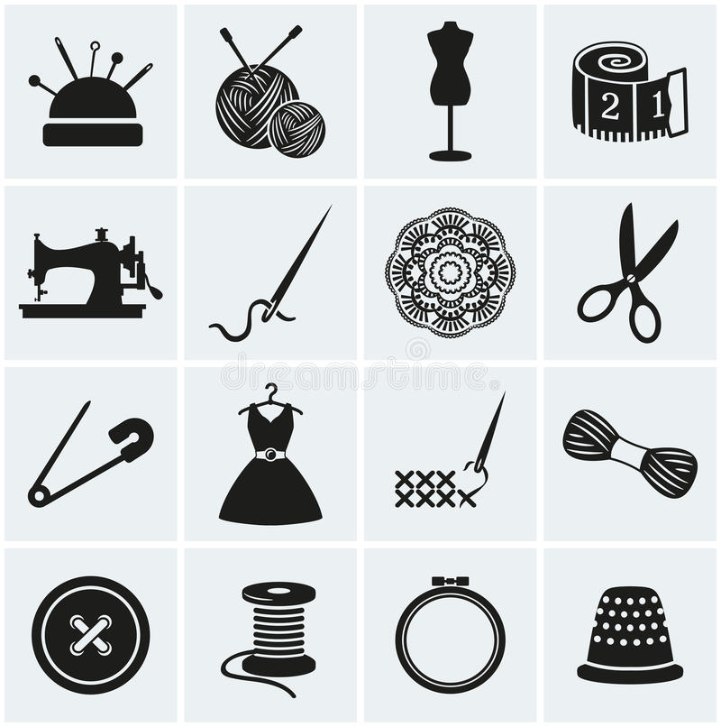 Sewing and needlework icons. Vector set. vector illustration