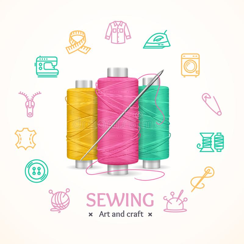 Sewing and Needlework Tools Concept. Vector. Sewing and Needlework Tools Concept with Realistic 3d Detailed Color Thread and Needle. Vector illustration of vector illustration