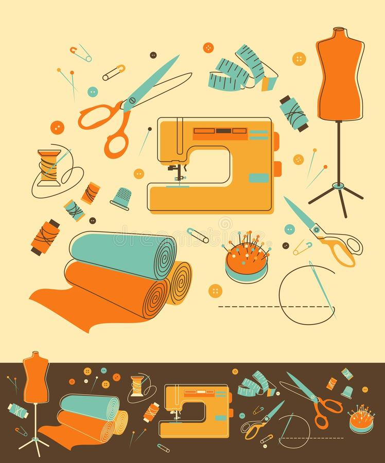 Sewing objects. Set of objects for sewing in retro-style royalty free illustration
