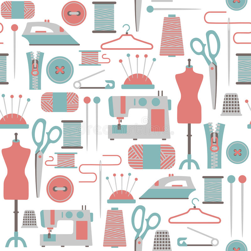 Sewing pattern. Seamless pattern with sewing icons