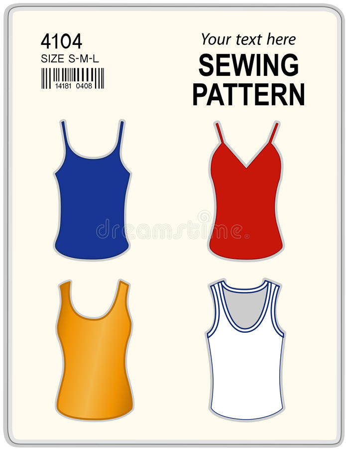 Sewing Pattern, Tank Tops stock vector. Illustration of blue - 16552535