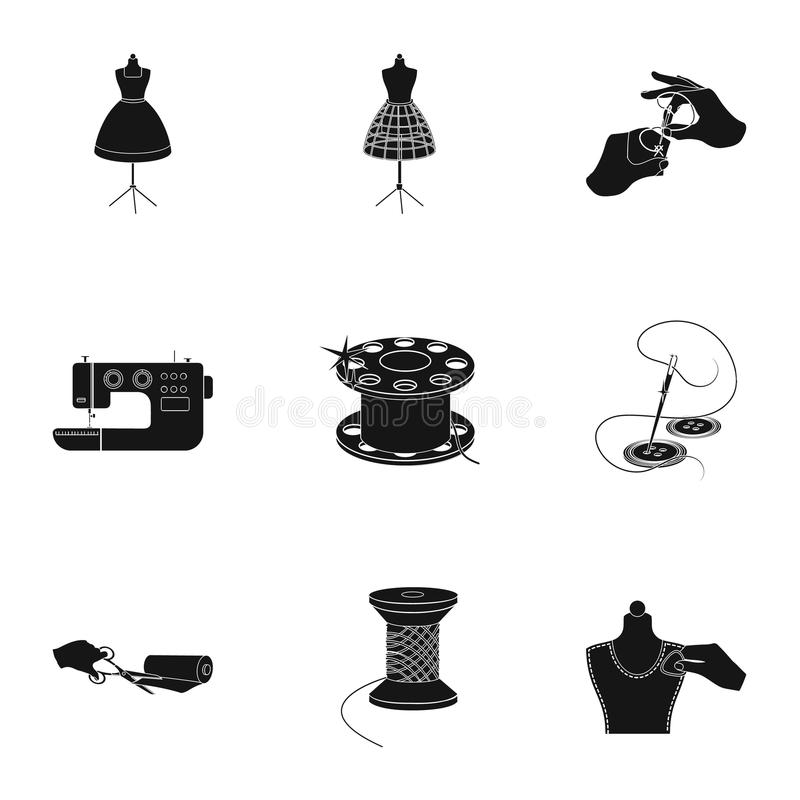 Sewing related icon set. Coil with thread, sewing machine, fabric and other equipment. Sewing and equipment set collection icons in black style vector symbol royalty free illustration
