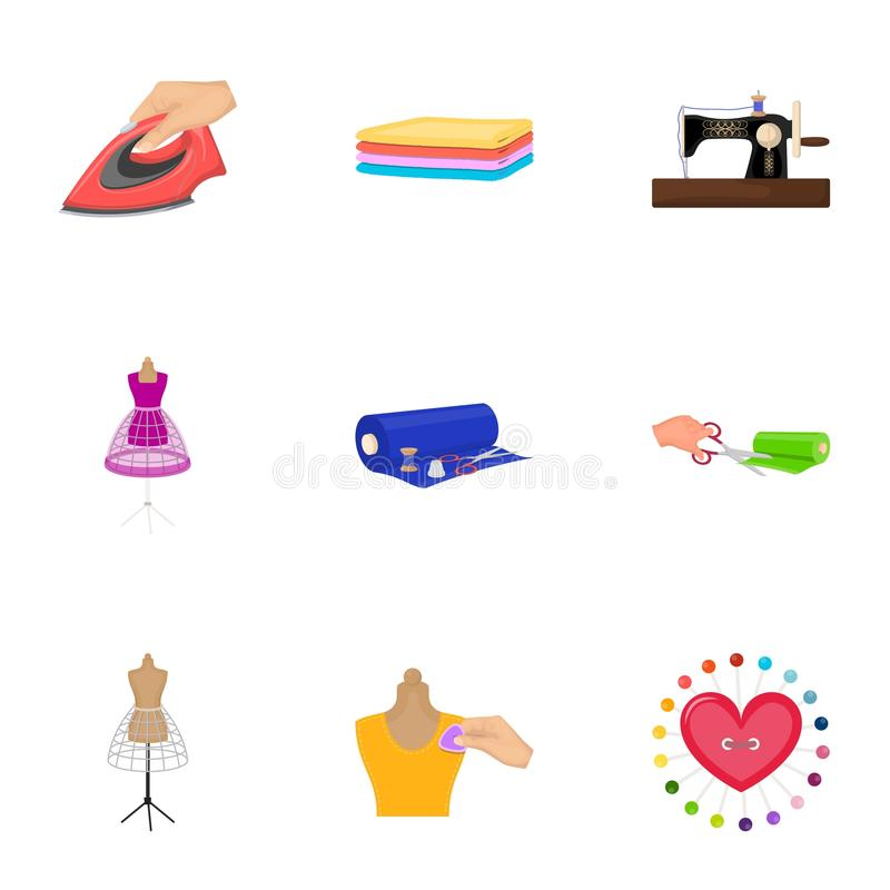 Sewing related icon set. Coil with thread, sewing machine, fabric and other equipment. Sewing and equipment set collection icons in cartoon style vector symbol royalty free illustration
