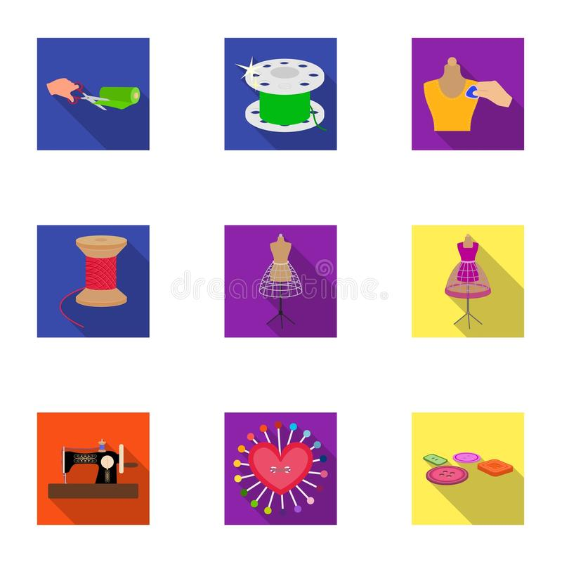 Sewing related icon set. Coil with thread, sewing machine, fabric and other equipment. Sewing and equipment set collection icons in flat style vector symbol royalty free illustration