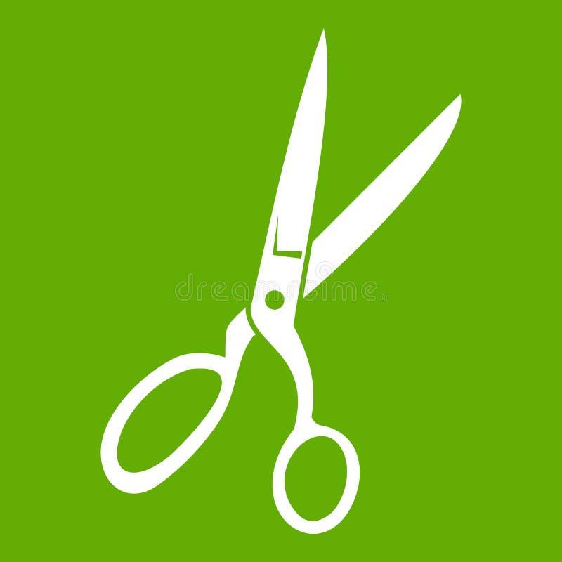 Sewing scissors icon green stock illustration
