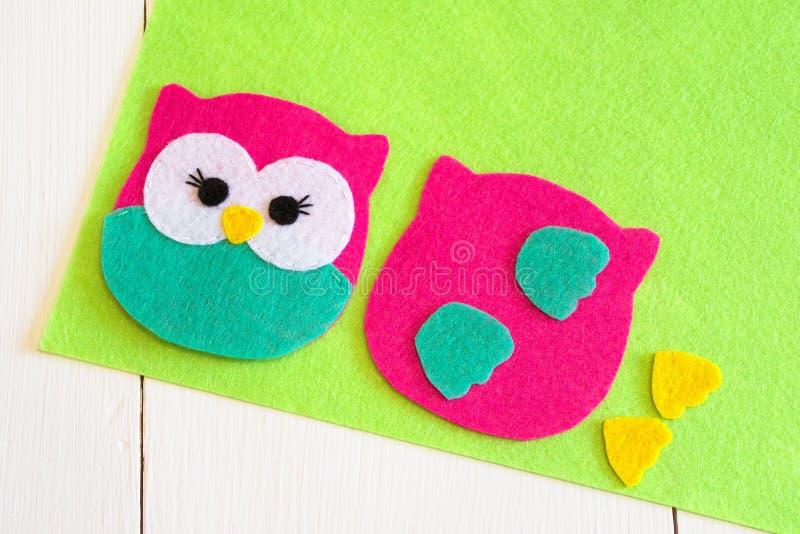 Sewing set for felt owl - how to make an owl toy. Felt owl sewing. Stuffed owl tutorial. Felted miniature animal. Felt animals. Handmade felt owl toy. Miniature stock images