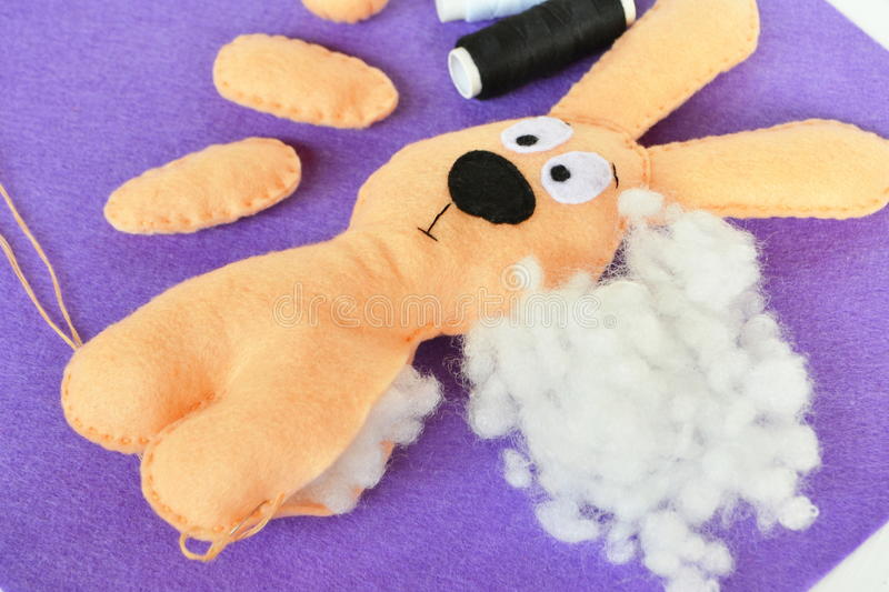 Sewing set for felt rabbit - how to make handmade toy royalty free stock images