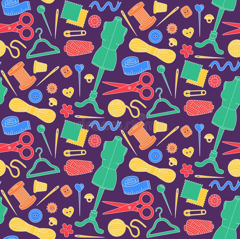Sewing seamless vector pattern stock illustration