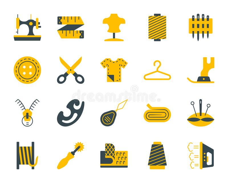 Sewing simple color flat icons vector set stock illustration