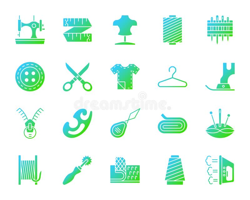 Sewing simple gradient icons vector set stock illustration