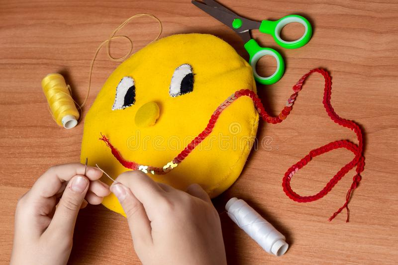 Sewing soft toys stock image