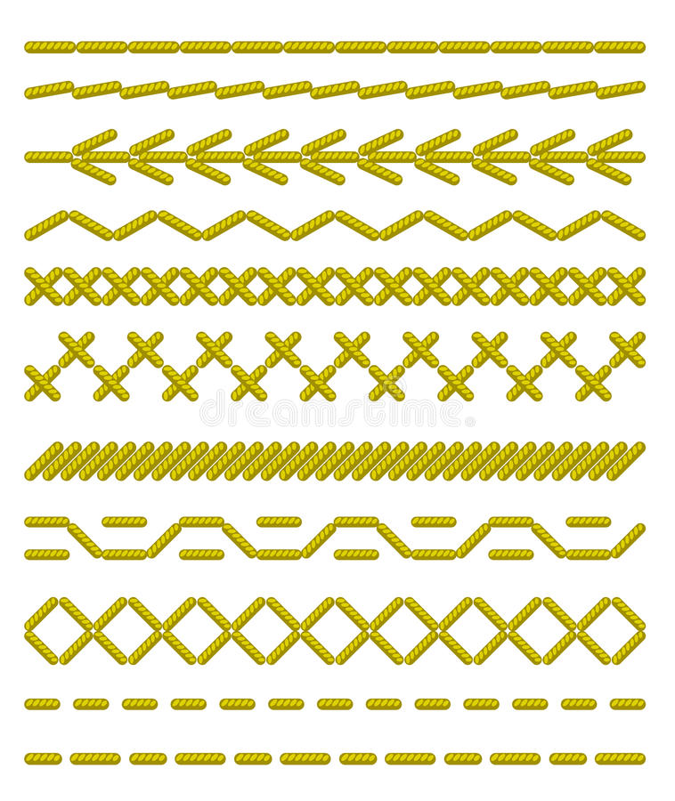 Sewing stitches. Seamless borders. royalty free illustration