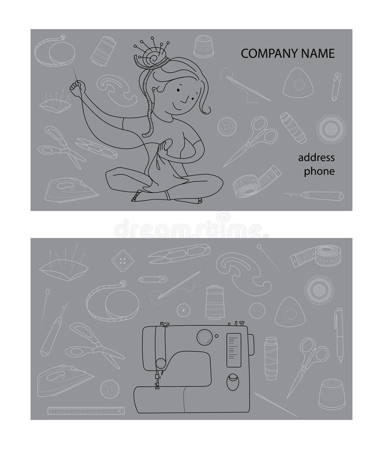 Sewing studio business card vector template. Hand sewn concept, Seamstress and sewing tools, Thin line cartoon style royalty free illustration