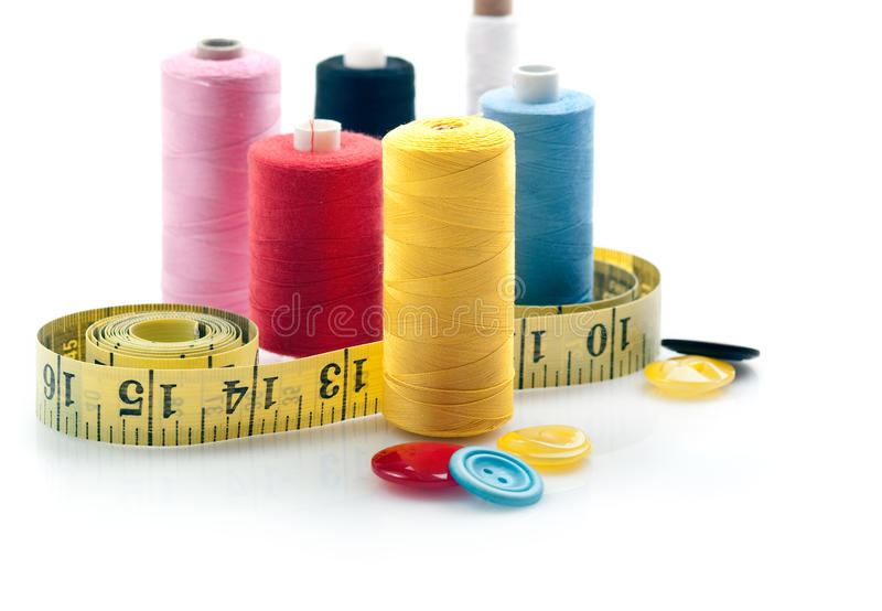 Download Sewing stuff stock photo. Image of isolated, spool, yellow - 12441864