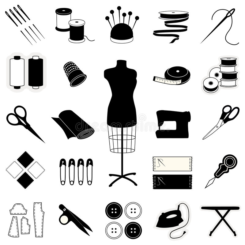 Sewing and Tailoring Tools and Supplies vector illustration