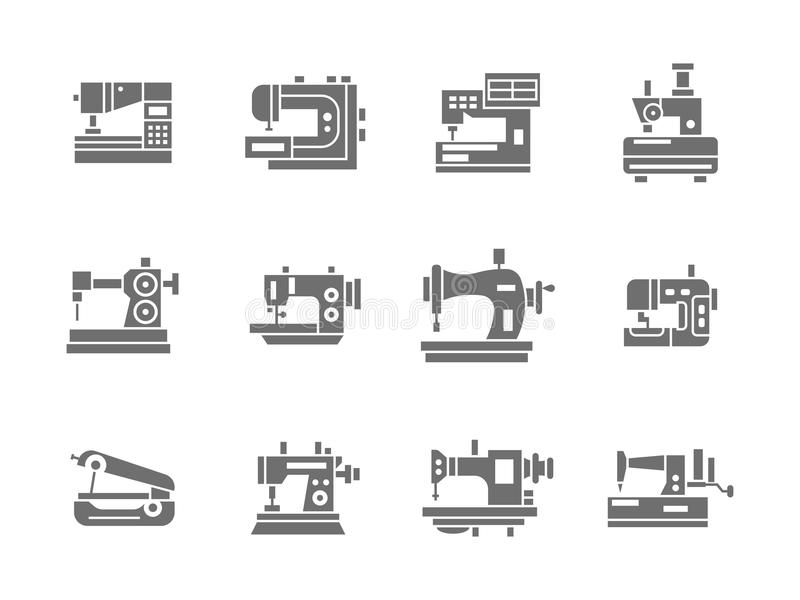 Sewing technology glyph style icons set stock illustration