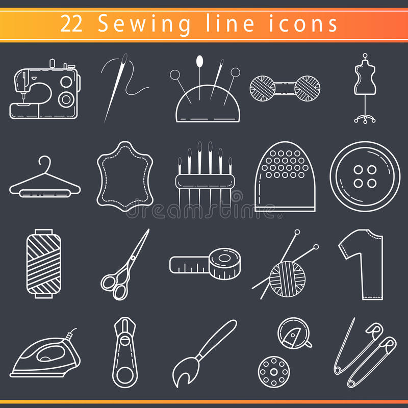 Sewing thin line icons stock images