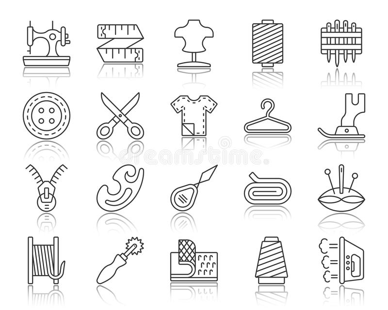 Sewing simple black line icons vector set vector illustration