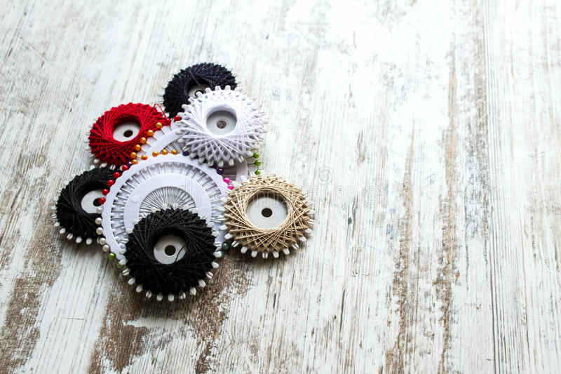 Sewing thread. Group of sewing thread and stickpins royalty free stock photo
