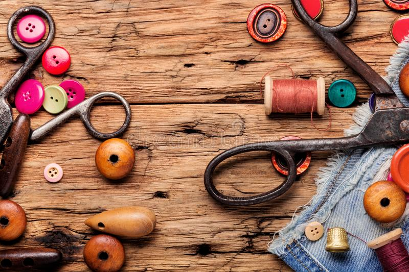 Sewing threads and accessories stock image