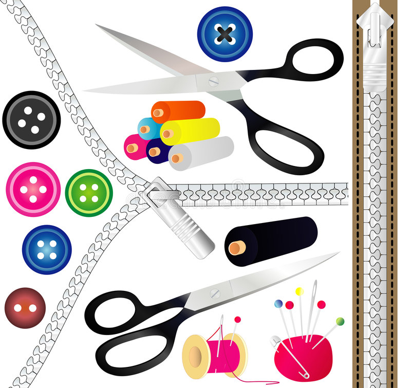 Sewing tools vector illustration