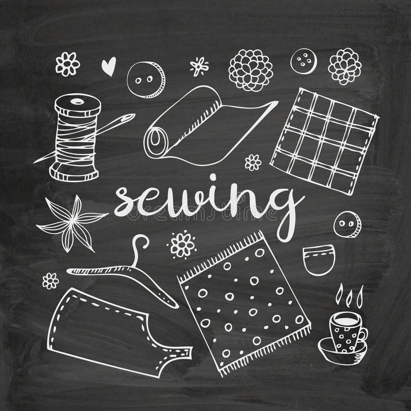 Sewing vector doodle set. Fabric, thread, bobbin, needle, button, hanger, pattern and cup of tea on chalkboard background royalty free stock photos