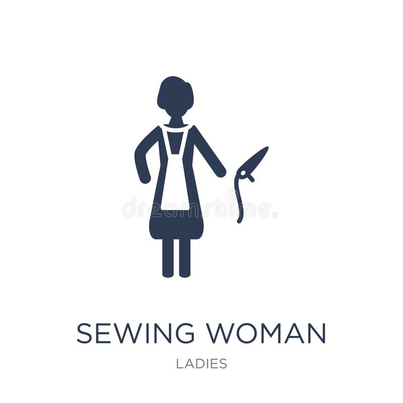 Sewing Woman icon. Trendy flat vector Sewing Woman icon on white. Background from Ladies collection, vector illustration can be use for web and mobile, eps10 vector illustration